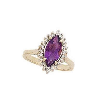 Twilight Splendor Marquise Amethyst & Diamond Ring