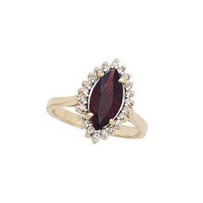Twilight Splendor Marquise Garnet & Diamond Ring