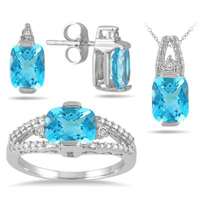5.75 Carat Genuine Swiss Blue Topaz and Diamond Matching Ensemble in .925 Sterling Silver