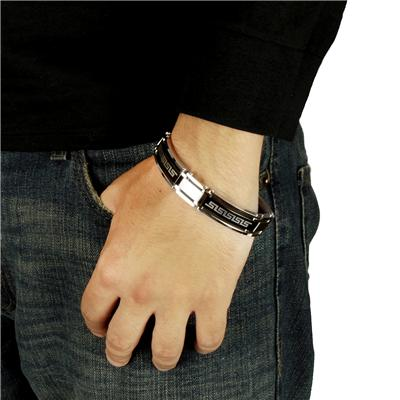 Stainless Steel Link Bracelet with Tribal Design