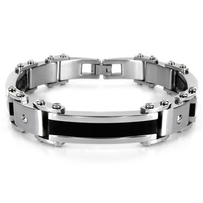 Stainless Steel Black Plated Mens Bracelet (10mm) - 8.75 Inches