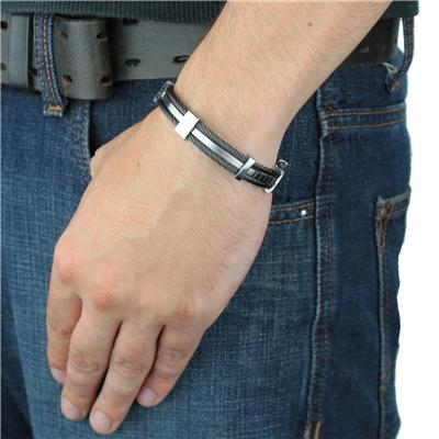 Stainless Steel Blackplated Cable Cuff Bracelet