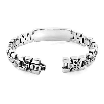 "Stainless Steel ""ID Bracelet"" Celtic Cross Links"