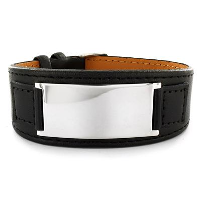 Stainless Steel and Black Leather Mens Engraveable Plate Bracelet