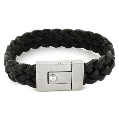 Stainless Steel and Black Leather Mens Woven Bracelet