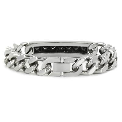Stainless Steel Black Cubic Zirconia ID Bracelet