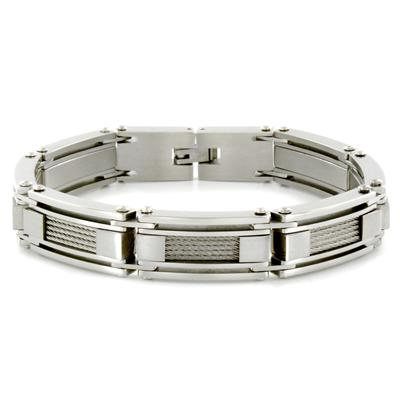 Stainless Steel White Cable Inlay Link Bracelet