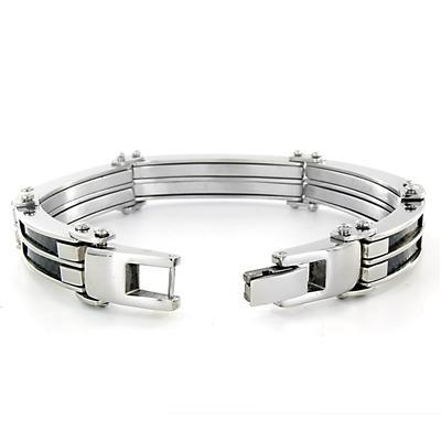 Stainless Steel Mens Cable and Black Carbon Fiber Bracelet