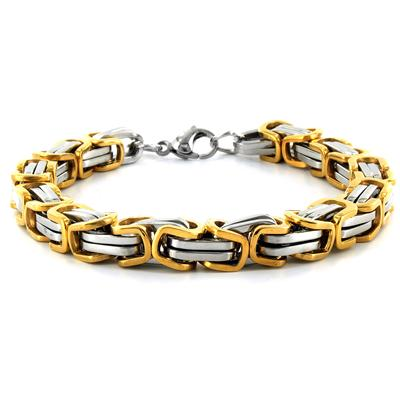 Stainless Steel Byzantine Mens Bracelet - Two Tone