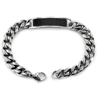 Stainless Steel ID with Black Caron Fiber Inlay Bracelet
