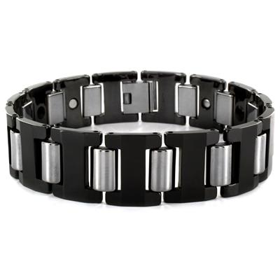 Tungsten Black and Silvertone Link Mens Bracelet