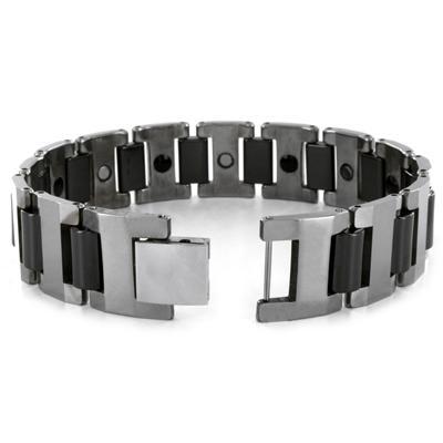 Tungsten Silvertone and Black Link Mens Bracelet