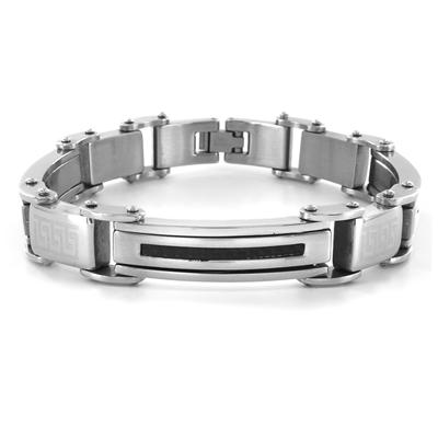 Stainless Steel Thin Carbon Fiber Inlay Mens Bracelet