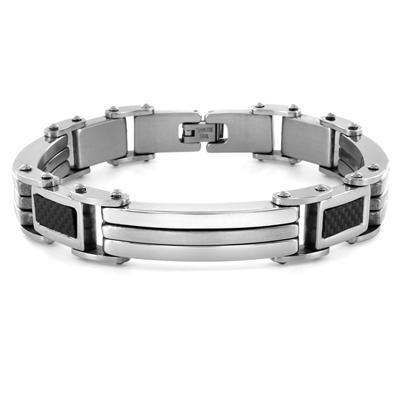 Stainless Steel with Carbon Fiber Link Bracelet