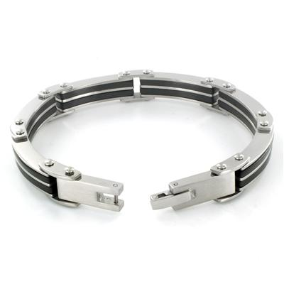 Stainless Steel Mens Black Rubber Link Bracelet