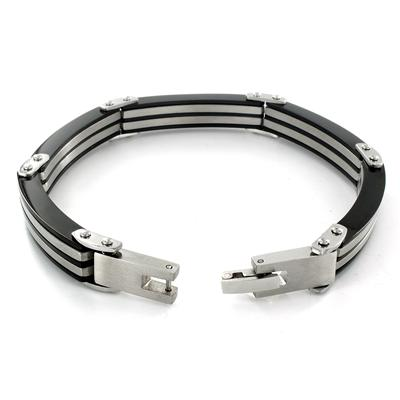 Stainless Steel Black Stripe Link Bracelet