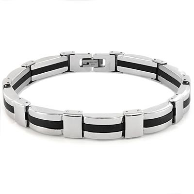 Stainless Steel Mens Link Bracelet (8mm Wide) - 8.25 Inches