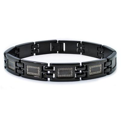 Stainless Steel Black Plate Greek Link Bracelet (11mm) - 8.5 Inches