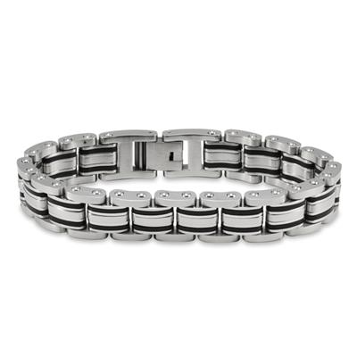 Stainless Steel and Black Rubber Brushed Mens Bracelet