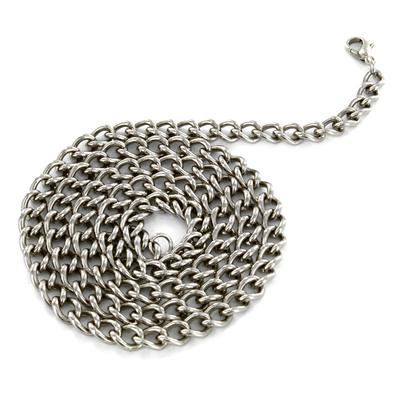 24 Inch Long, 6mm Wide Stainless Steel Curb Chain With Lobster Clasp