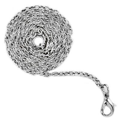 19 Inch Long, 2.1mm Wide Stainless Steel Cable Chain With Lobster Clasp