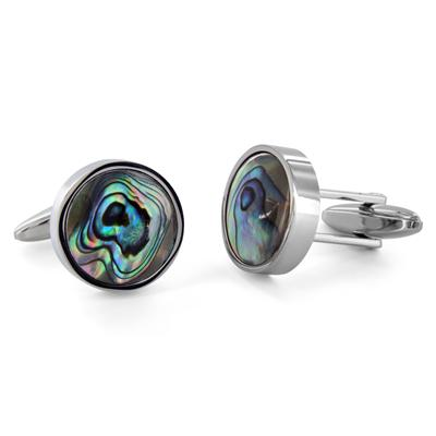 Stainless Steel Mens Mother of Pearl Cuff Links