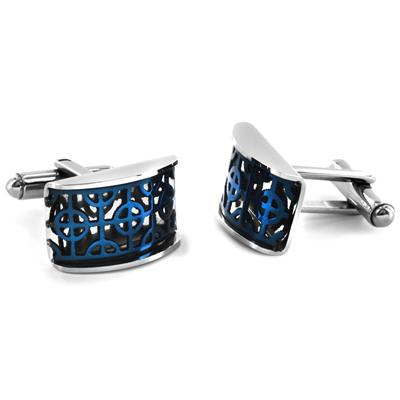 Stainless Steel with Blue IP Plated Cuff Links