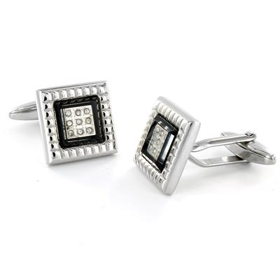 Stainless Steel CZ Black Enamel Cuff Links