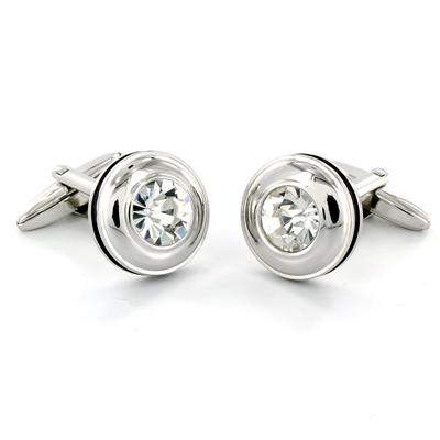 Stainless Steel CZ Black Trim Cuff Links