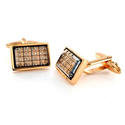 Stainless Steel CZ Black Goldtone Carbon Fiber Checkerboard Cuff Links