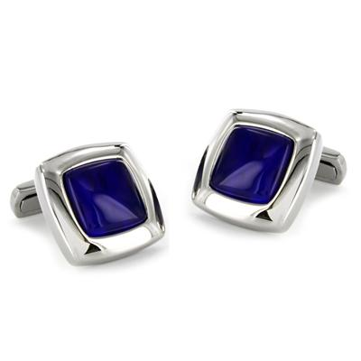 Stainless Steel Blue Enamel Cuff Links