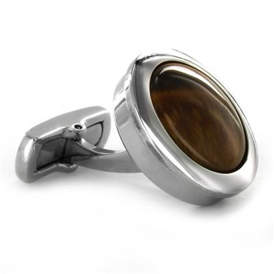 Stainless Steel Tigers Eye Inlay Cuff Links