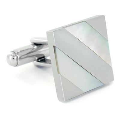 Stainless Steel Polished Mother of Pearl Inlay Cufflinks