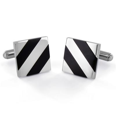 Stainless Steel Polished Black Onyx Inlay Cuff Links