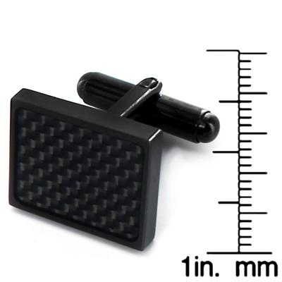 Stainless Steel Blackplated Black Carbon Fiber Cuff Links