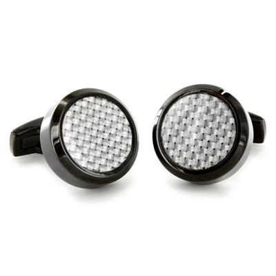 Stainless Steel with Black and White Carbon Fiber Inlay Oversized Cufflinks
