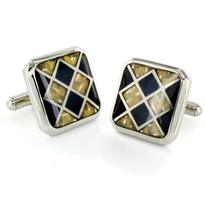 Stainless Steel with Black and White Carbon Fiber Checkerboard Inlay Cuff Links