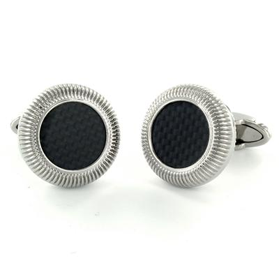 Circular Stainless Steel with Black Carbon Fiber Inlay Cuff Links