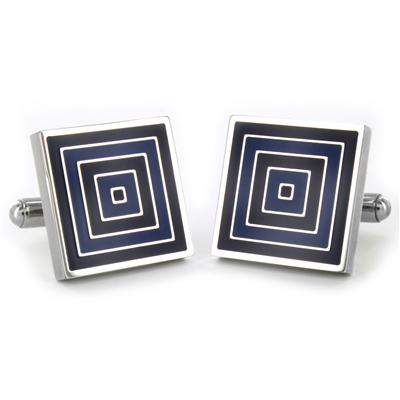 Stainless Steel Blue and Black Patterned Cufflinks - Blue and Black Squares