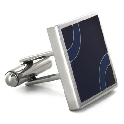 Stainless Steel Blue and Black Patterned Cufflinks - Black with Blue Arcs