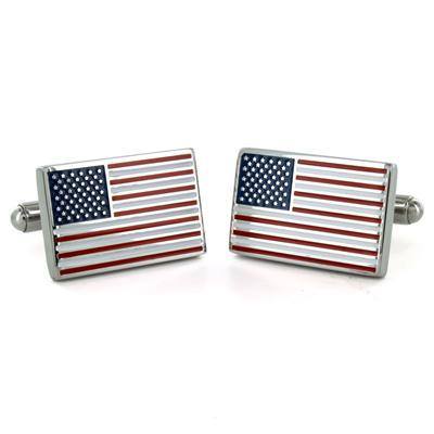 Stainless Steel American Flag Cuff Links