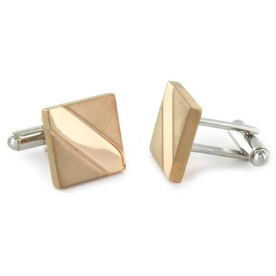 Stainless Steel Pink Gold Plated Rectangle Cuff Links