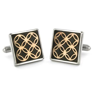 Stainless Steel Black and Gold Circle Inlay Square Cuff Links