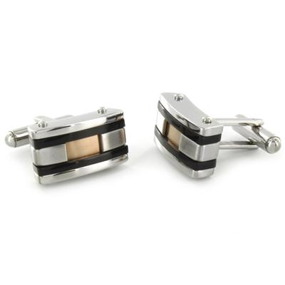 Stainless Steel Colored Inlay and Black Racing Stripe Cuff Links - Copper