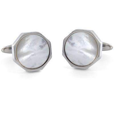 Stainless Steel with White Shell Cuff Links