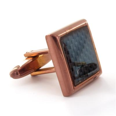 Coffee Colored Stainless Steel with Carbon Fiber Inlay Cuff Links