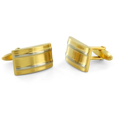 Goldtone Stainless Steel with White Stripes Cuff Links