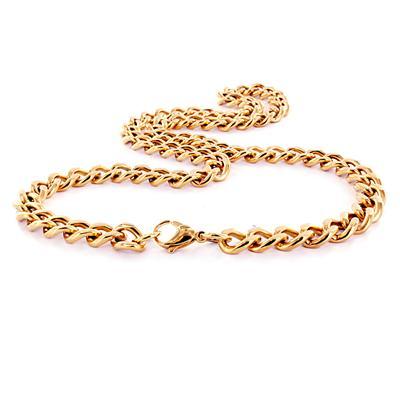 "30"" Pink Goldplated Stainless Steel Heavy Curb Link Chain Necklace"