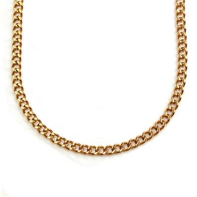 "24"" Pink Goldplated Stainless Steel Heavy Curb Link Chain Necklace"