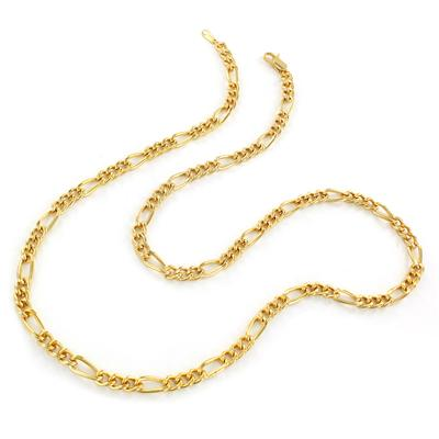 "24"" 14kt Gold Plated Brass Figaro Chain Necklace"